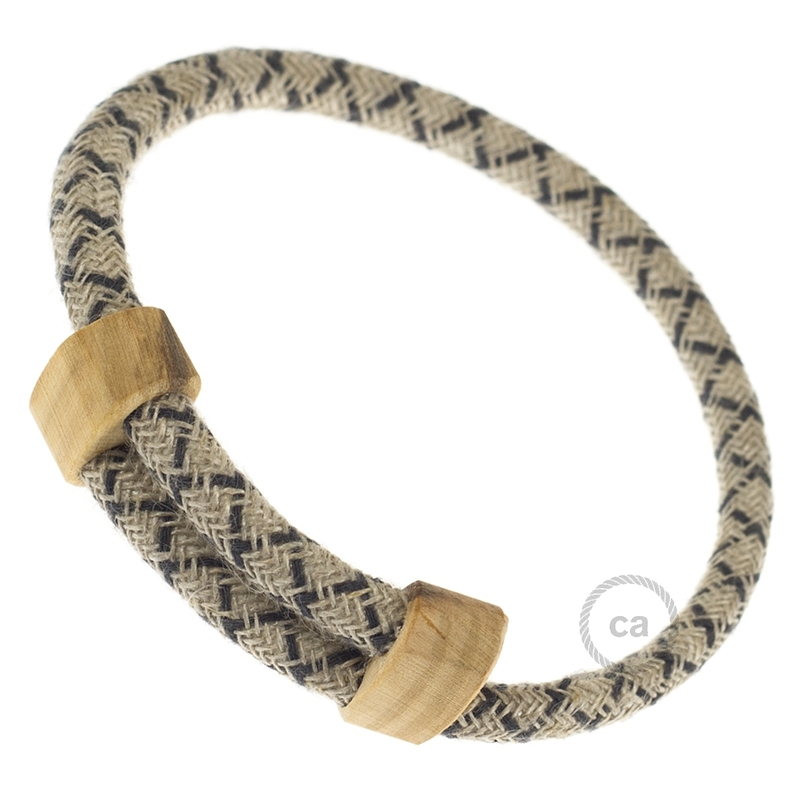 Creative-Bracelet in Cotton and Natural Linen Charcoal CrissCross RD64. Wood sliding fastening. Made in Italy.