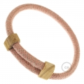 Creative-Bracelet in Cotton and Natural Linen Pink Chevron RD71. Wood sliding fastening. Made in Italy.