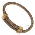 Creative-Bracelet in Brown Glitter Cotton & Natural Linen Tweed RS82. Wood sliding fastening. Made in Italy.