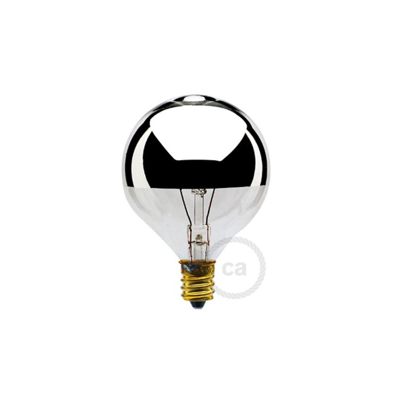 G16 - Incandescent Half Chrome Dipped Globe Light Bulb