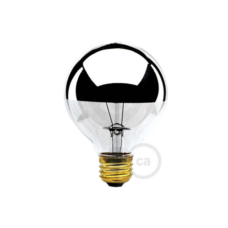 G25 - Incandescent Half Chrome Dipped Globe Light Bulb