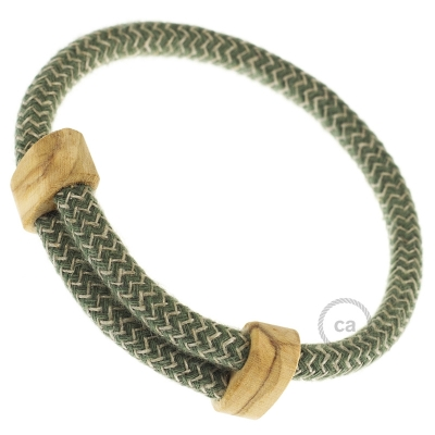 Creative-Bracelet in Cotton and Natural Linen Thyme Green Chevron RD72. Wood sliding fastening. Made in Italy.