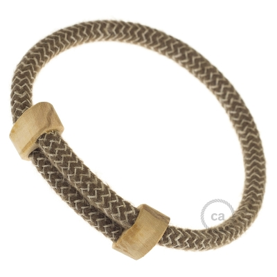 Creative-Bracelet in Cotton and Natural Linen Brown Chevron RD73. Wood sliding fastening. Made in Italy.