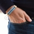 Creative-Bracelet in Cotton and Natural Linen Blue Chevron RD75. Wood sliding fastening. Made in Italy.