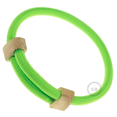 Creative-Bracelet in Rayon Neon Green fabric RF06. Wood sliding fastening. Made in Italy.