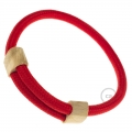 Creative-Bracelet in Rayon solid color Red fabric RM09. Wood sliding fastening. Made in Italy.