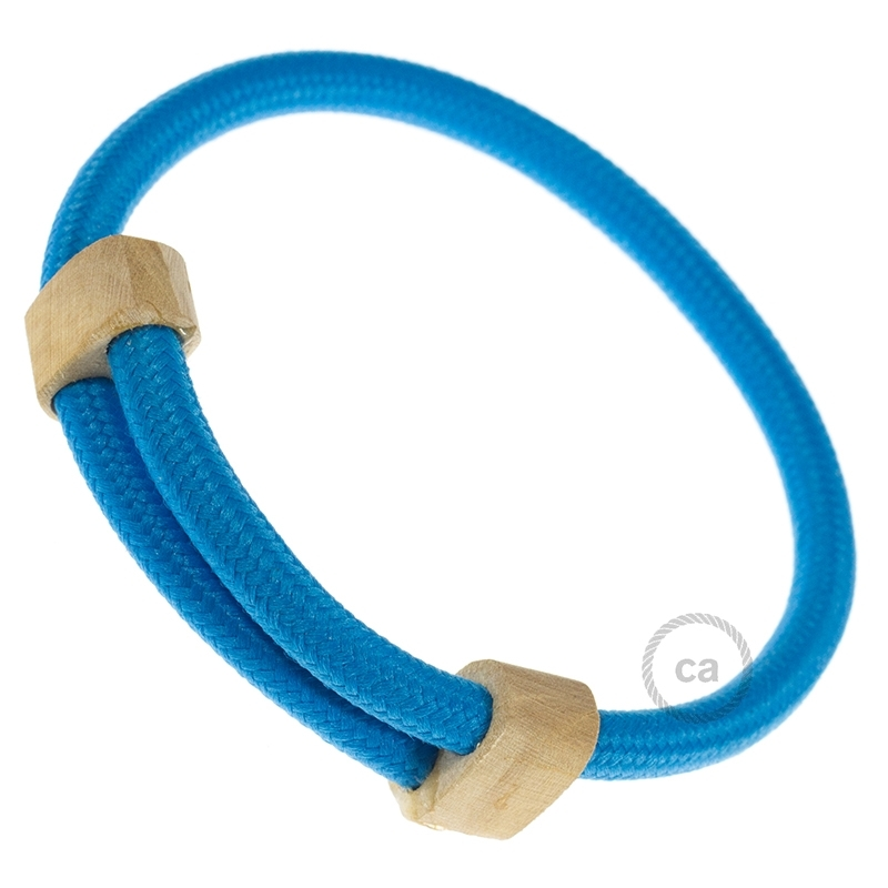 creative bracelet in rayon solid color light blue fabric rm11 wood sliding fastening made in. Black Bedroom Furniture Sets. Home Design Ideas