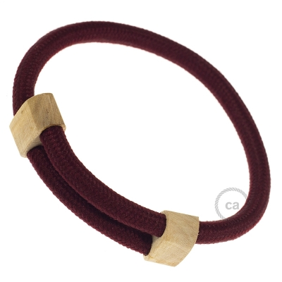 Creative-Bracelet in Rayon solid color Burgundy RM19. Wood sliding fastening. Made in Italy.