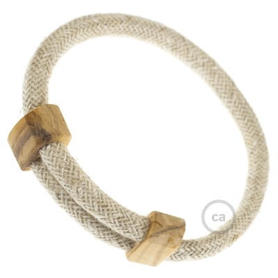 Creative-Bracelet in Natural Linen RN01. Wood sliding fastening. Made in Italy.