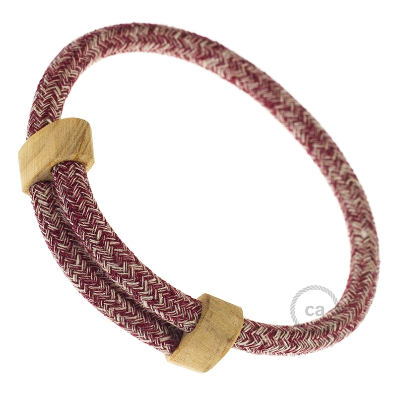 Creative-Bracelet in Red Glitter Cotton & Natural Linen Tweed RS83. Wood sliding fastening. Made in Italy.