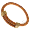 Creative-Bracelet in Cotton Orange RX07. Wood sliding fastening. Made in Italy.