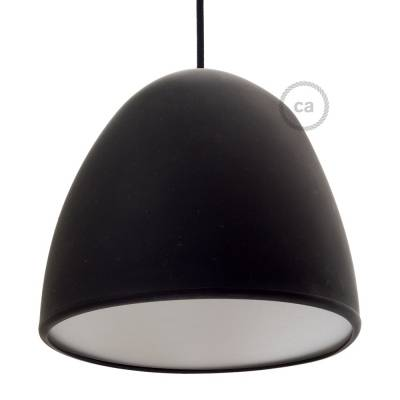 "Silicone Lampshade color black supplied with diffuser and strain relief. Diameter cm 9-13/16""."
