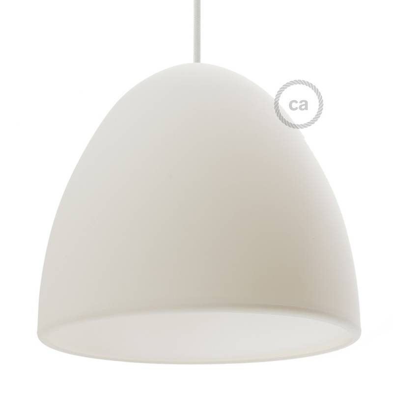 "Silicone Lampshade color white supplied with diffuser and strain relief. Diameter cm 9-13/16""."