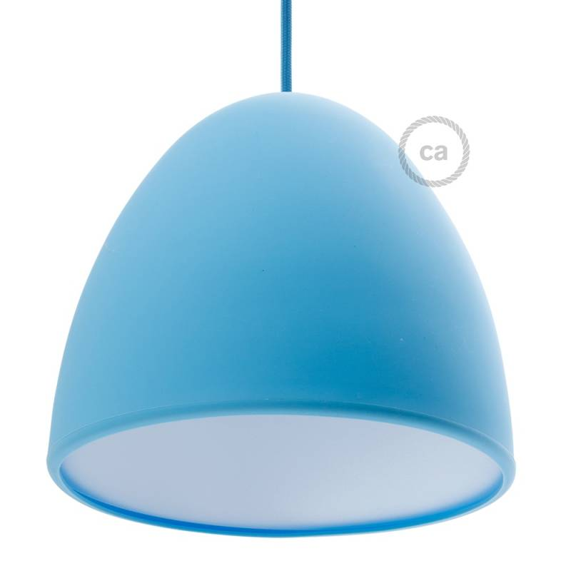 "Silicone Lampshade color light blue supplied with diffuser and strain relief. Diameter cm 9-13/16""."