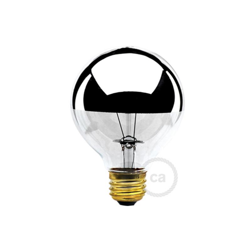 G25 - Incandescent Half Chrome Dipped Globe Light Bulb
