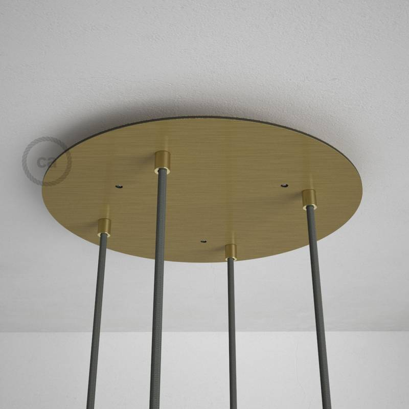 """Round 13.80"""" Satin Brass XXL Ceiling Rose with 4 holes + Accessories"""