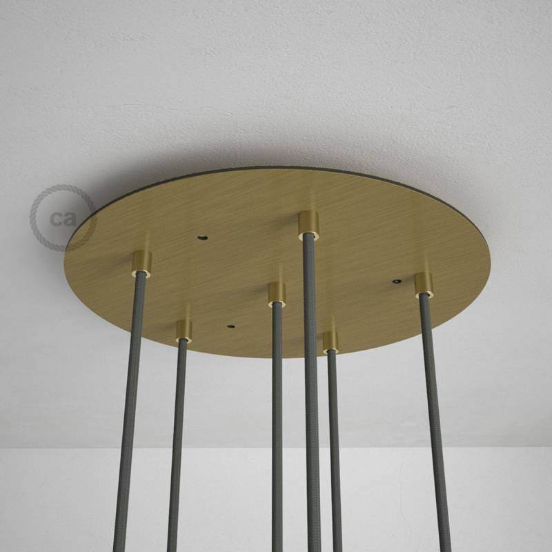 "Round 13.80"" Satin Brass XXL Ceiling Rose with 6 holes + Accessories"