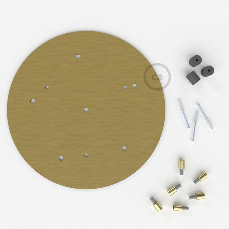 """Round 13.80"""" Satin Brass XXL Ceiling Rose with 6 holes + Accessories"""