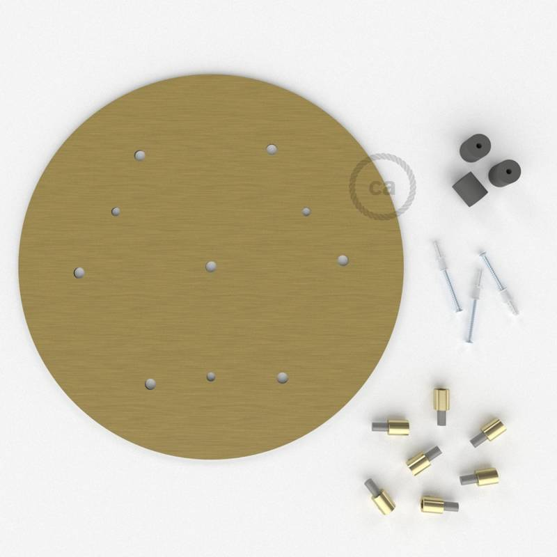 "Round 13.80"" Satin Brass XXL Ceiling Rose with 7 holes + Accessories"