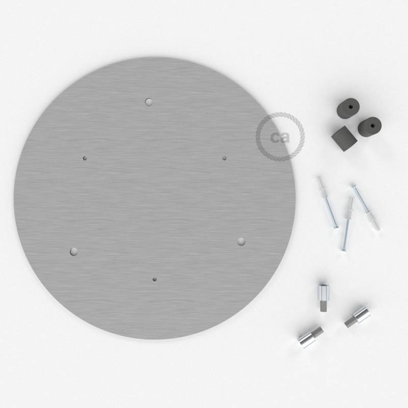 """Round 13.80"""" Satin Steel XXL Ceiling Rose with 3 holes + Accessories"""