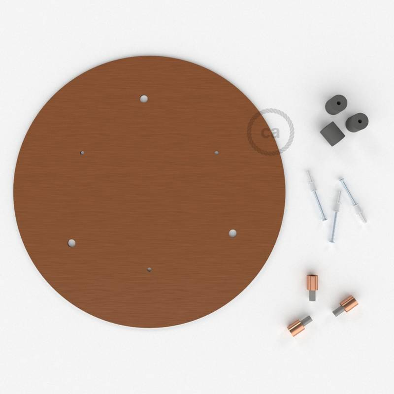 """Round 13.80"""" Satin Copper XXL Ceiling Rose with 3 holes + Accessories"""
