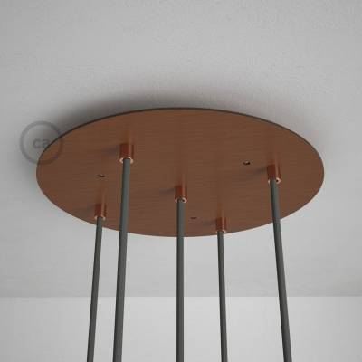 "Round 13.80"" Satin Copper XXL Ceiling Rose with 5 holes + Accessories"