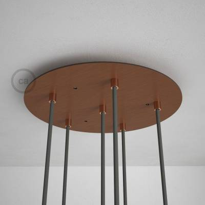 "Round 13.80"" Satin Copper XXL Ceiling Rose with 6 holes + Accessories"