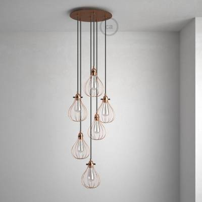 """Round 13.80"""" Satin Copper XXL Ceiling Rose with 6 holes + Accessories"""