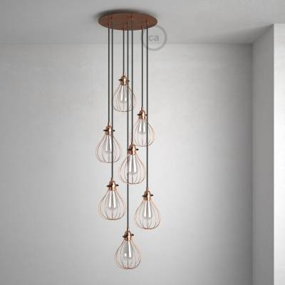 """Round 13.80"""" Satin Copper XXL Ceiling Rose with 7 holes + Accessories"""
