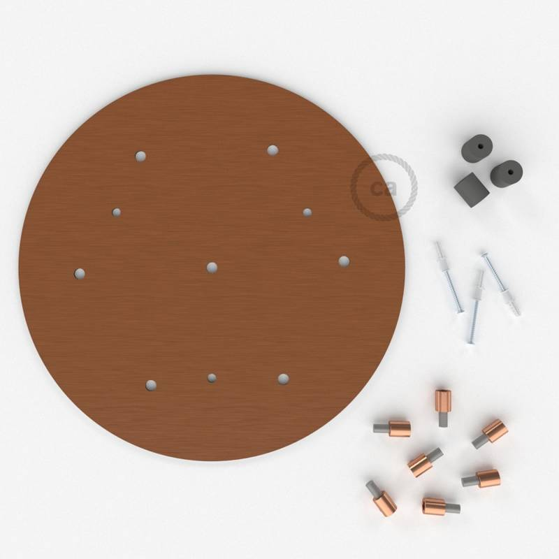 "Round 13.80"" Satin Copper XXL Ceiling Rose with 7 holes + Accessories"