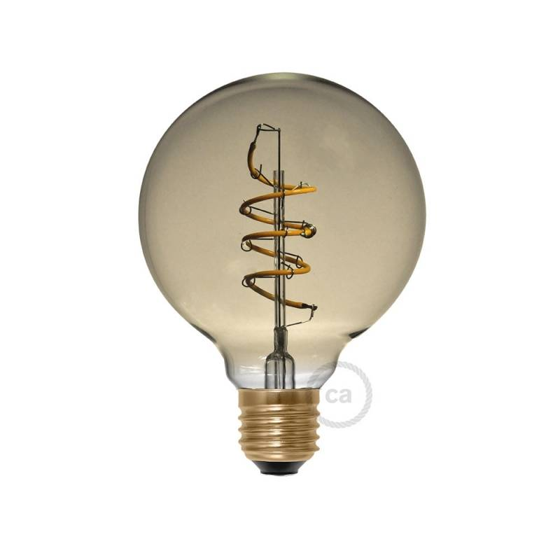 LED Golden Light Bulb - Globe G95 Curved Spiral Filament