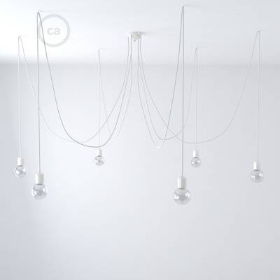 White ceramic spider, multiple suspension with 6-7 pendant, RM01 white cable