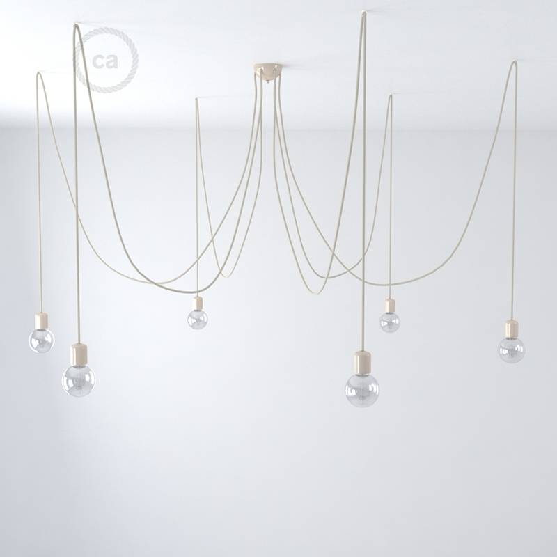 Cream ceramic spider, multiple suspension with 6-7 pendant, RS82 brown cable