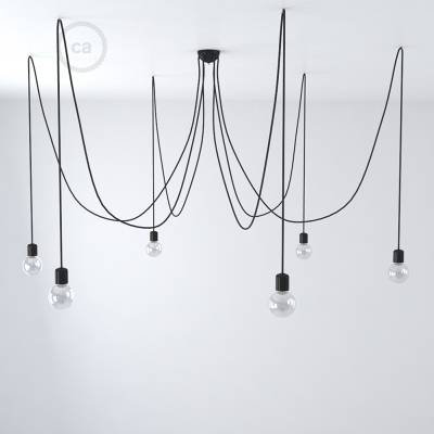 Black ceramic spider, multiple suspension with 6-7 pendant, RM04 black cable