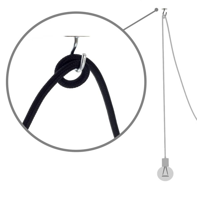 Black ceramic spider, multiple suspension with 6-7 pendant, RM04 black cable