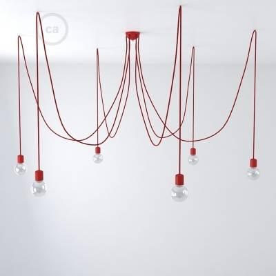 Red ceramic spider, multiple suspension with 6-7 pendant, RM09 red cable