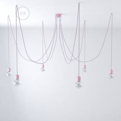 Lilac ceramic spider, multiple suspension with 6-7 pendant, RM07 Lilac cable