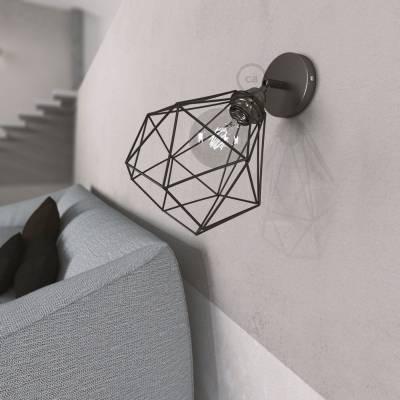 Fermaluce Metallo 90° Black Pearl adjustable with Diamond lampshade, the metal wall flush light
