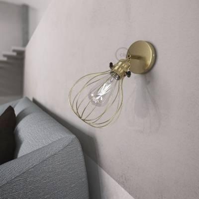 Fermaluce Metallo 90° Brass finish adjustable with Drop lampshade, the metal wall flush light