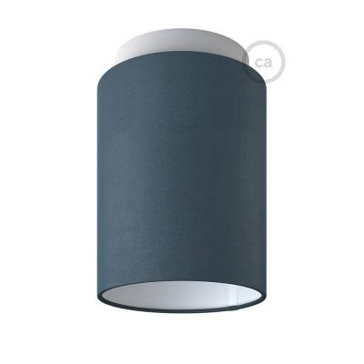 """Fermaluce with Petrol Blue Cinette Cylinder Lampshade, white metal, Ø 5.90"""" h7.10"""", for wall or ceiling mount"""
