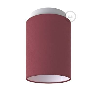 """Fermaluce with Burgundy Canvas Cylinder Lampshade, white metal, Ø 5.90"""" h7.10"""", for wall or ceiling mount"""