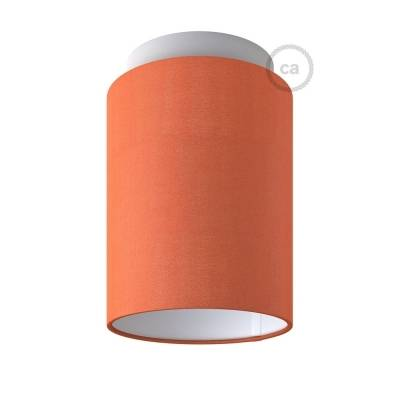 """Fermaluce with Lobster Cinette Cylinder Lampshade, white metal, Ø 5.90"""" h7.10"""", for wall or ceiling mount"""