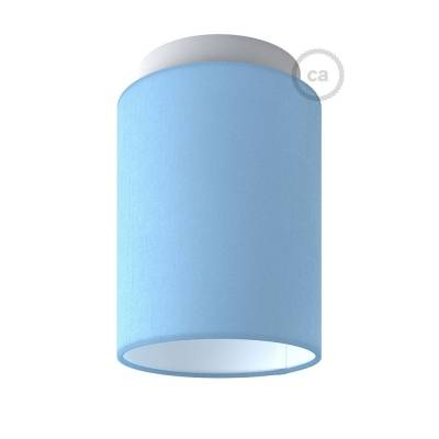 """Fermaluce with Heavenly Blue Canvas Cylinder Lampshade, white metal, Ø 5.90"""" h7.10"""", for wall or ceiling mount"""
