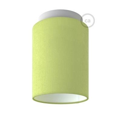 """Fermaluce with Olive Green Canvas Cylinder Lampshade, white metal, Ø 5.90"""" h7.10"""", for wall or ceiling mount"""