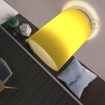 """Fermaluce with Bright Yellow Canvas Cylinder Lampshade, white metal, Ø 5.90"""" h7.10"""", for wall or ceiling mount"""