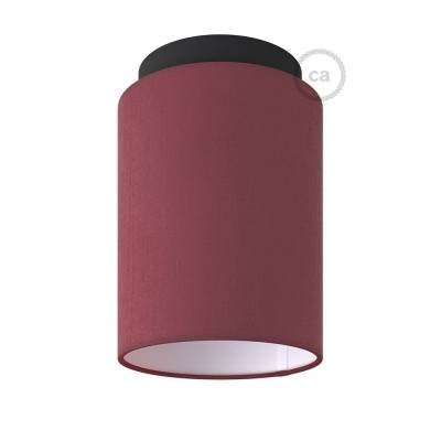 """Fermaluce with Burgundy Canvas Cylinder Lampshade, black metal, Ø 5.90"""" h7.10"""", for wall or ceiling mount"""