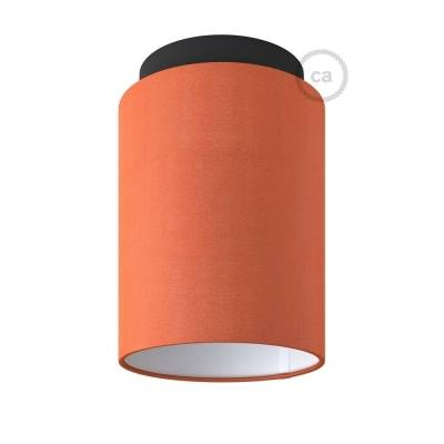 """Fermaluce with Lobster Cinette Cylinder Lampshade, black metal, Ø 5.90"""" h7.10"""", for wall or ceiling mount"""