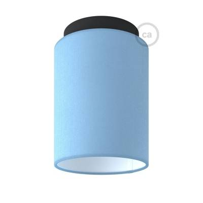 """Fermaluce with Heavenly Blue Canvas Cylinder Lampshade, black metal, Ø 5.90"""" h7.10"""", for wall or ceiling mount"""