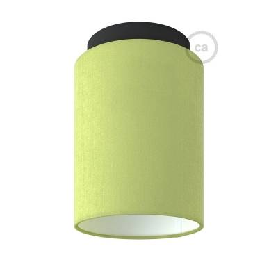 """Fermaluce with Olive Green Canvas Cylinder Lampshade, black metal, Ø 5.90"""" h7.10"""", for wall or ceiling mount"""