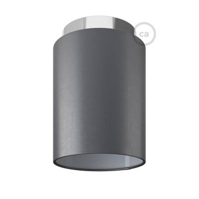 """Fermaluce with Penguin Electra Cylinder Lampshade, chrome metal, Ø 5.90"""" h7.10"""", for wall or ceiling mount"""
